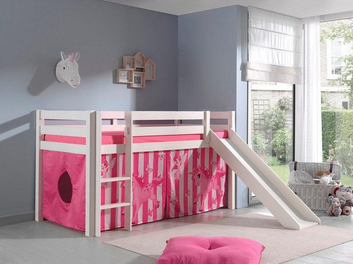 Vipack Hochbett »Pino« mit Rolllattenroste und Vorhang-Set