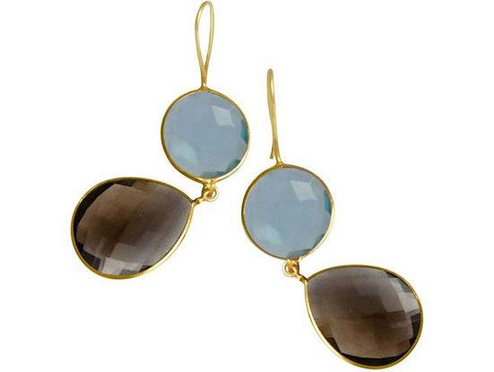 Gemshine Paar Ohrhänger »blaue Topas Quarze und Rauchquarz Edelstein Tropfen« 925 Silber