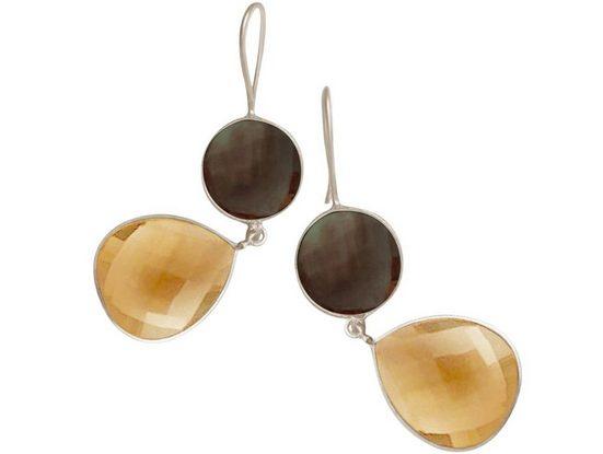 Gemshine Paar Ohrhänger »Rauchquarz Edelsteine und gelbe Citrin Tropfen« 925 Silber