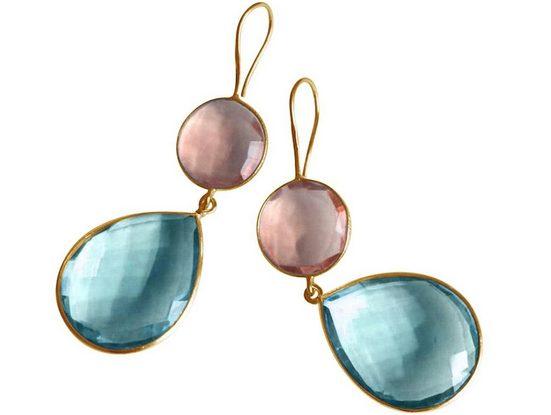Gemshine Paar Ohrhänger »Blautopas und Rosenquarz Tropfen. 925 Silber, Made in Spain«