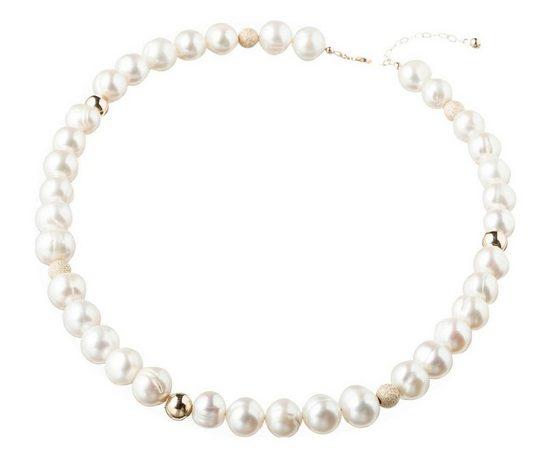 Gemshine Collier »9,5 mm weiße Zuchtperlen Perlen«, 925 Silber
