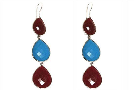 Gemshine Paar Ohrhänger »rote Rubine und blaue Türkis Tropfen. 925 Silber, Made in Spain«