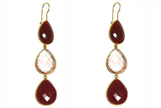 Gemshine Paar Ohrhänger »rote Rubine und Rosenquarz Tropfen. 925 Silber, Made in Spain«