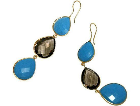 Gemshine Paar Ohrhänger »Rauchquarz und blaue Türkis Tropfen. 925 Silber, Made in Spain«