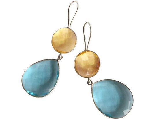 Gemshine Paar Ohrhänger »goldgelbe Citrinen und Blautopas Quarz Tropfen. 925 Silber, Made in Spain«
