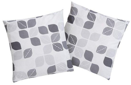 Kissenhüllen »Diane«, my home, mit grafisch angeordneten Blattmotiven (2er Pack)