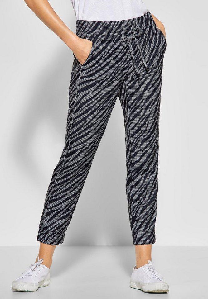 STREET ONE Bundfaltenhose im allover Zebra-Look | Bekleidung > Hosen > Bundfaltenhosen | Schwarz | Elasthan | STREET ONE
