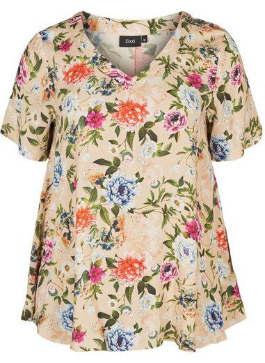 Zizzi Kurzarmbluse Damen Große Größen Bluseshirt Blumenmuster Kurzarm A-Form Bluse