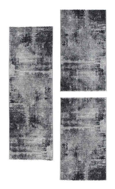 Bettumrandung »Luna« Andiamo, Höhe 7 mm, (3-tlg), Bettvorleger, Läufer-Set für das Schlafzimmer, Kurzflor, gewebt