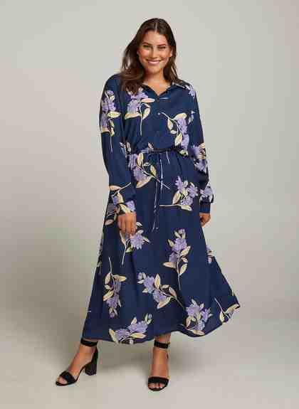 Zizzi Maxikleid Damen Große Größen Maxikleid Blumenprint Langarm Sommer Kleid