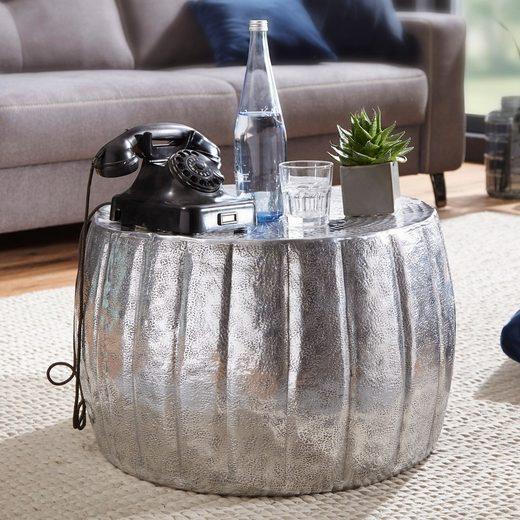 FINEBUY Couchtisch »SuVa12276_1«, Couchtisch 60 x 60 x 36 cm Aluminium Beistelltisch orientalisch rund Flacher Sofatisch Metall Design Wohnzimmertisch modern Loungetisch Stubentisch klein
