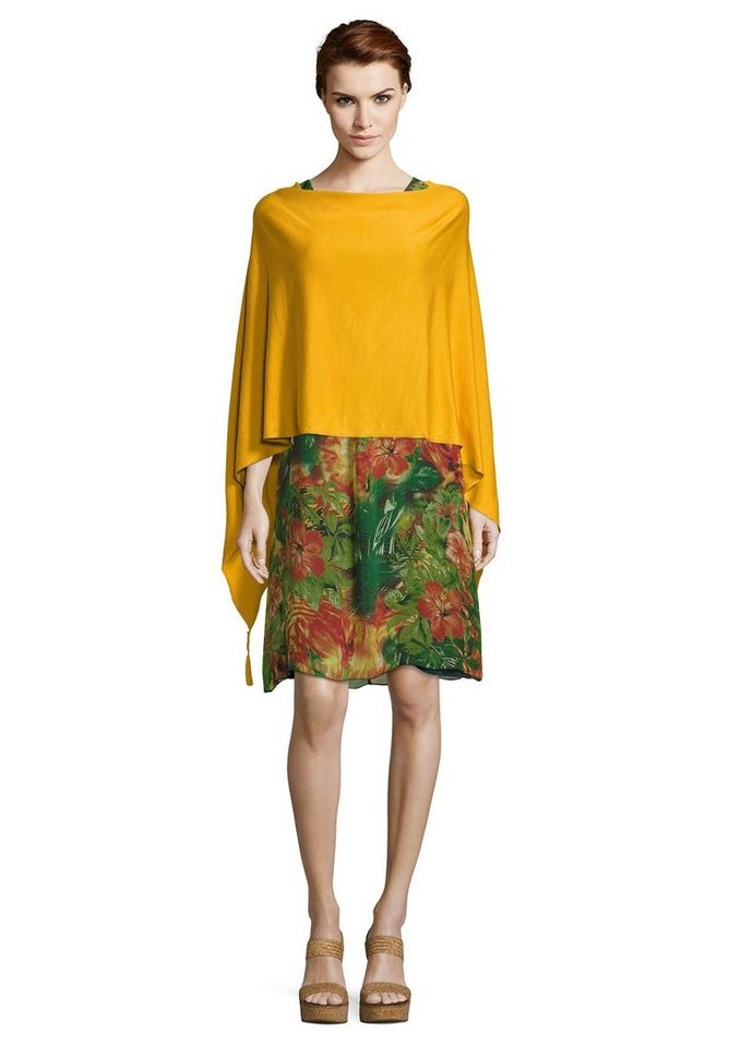 Betty Barclay Strick-Poncho mit Quasten | Bekleidung > Pullover > Ponchos & Capes | Goldfarben | Betty Barclay
