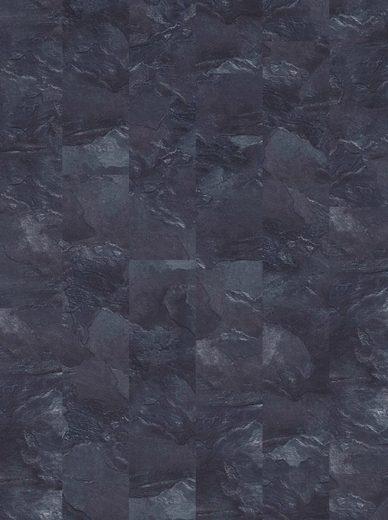 BODENMEISTER Teppichfliese »Velour Steinoptik Schiefer grau«, selbsthaftend 25 x 100 cm