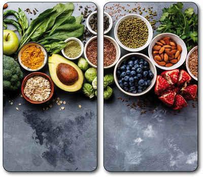 KESPER for kitchen & home Schneide- und Abdeckplatte »Healthy Kitchen«, ESG-Sicherheitsglas, (Set, 2 tlg)