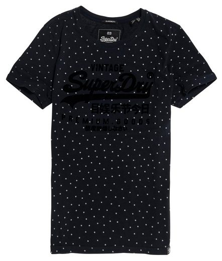 Superdry T-Shirt »PREMIUM GOODS SHIMMER AOP ENTRY TEE« mit weichem Logoflock
