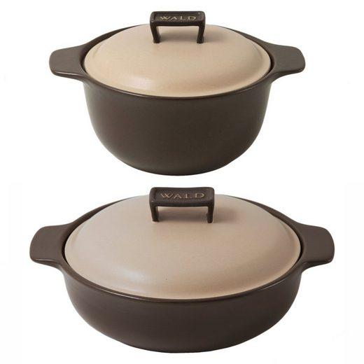 WALD WALD 2er-Set Keramik-Kochtöpfe klein, braun