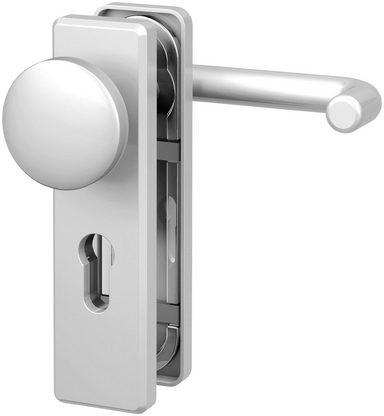BASI Türbeschlag »ES1 Wechselgarnitur, Aluminium silber, eckig«, Feuerschutz-Türbeschlag FS 2200