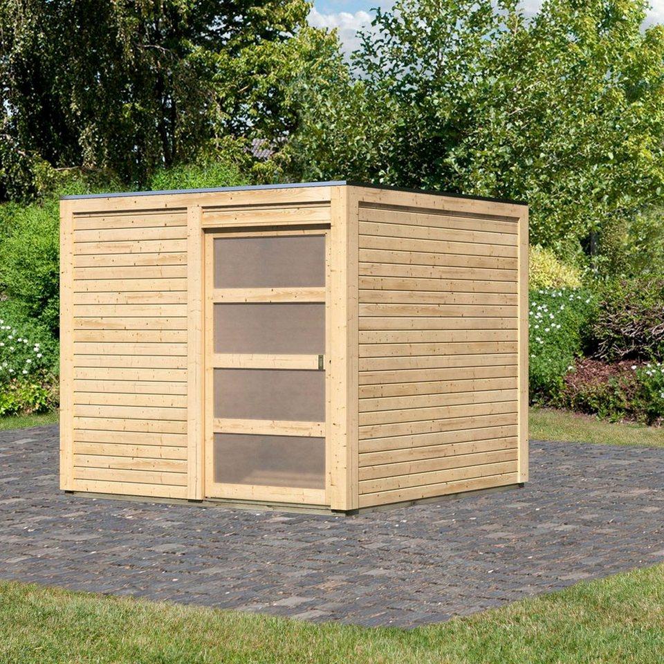 karibu gartenhaus cubussi bxt 246x246 cm aus naturbelassenem fichtenholz online kaufen otto