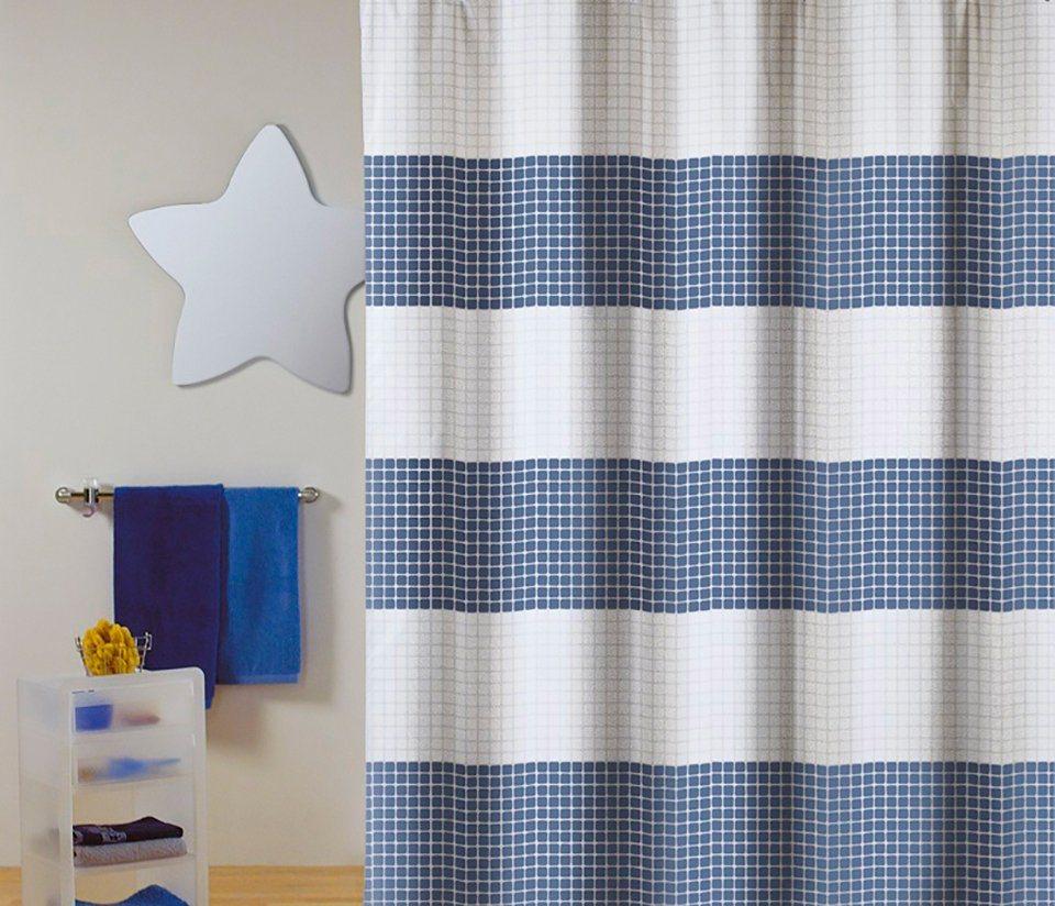 Duschen und Zubehör - MSV Duschvorhang »PREMIUM QUADRO BLAU«, Breite 180 cm  - Onlineshop OTTO