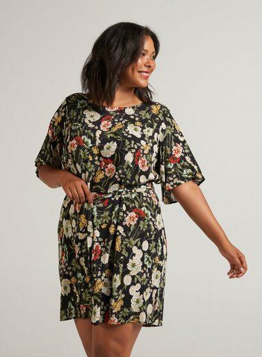 Zizzi Sommerkleid Damen Große Größen Kleid Elegant Kurzarm Muster Sommerkleid