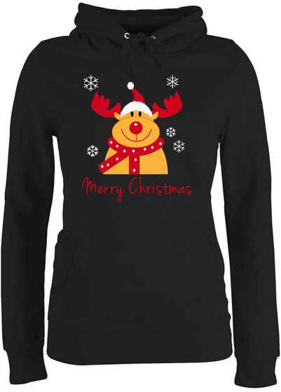 Shirtracer Hoodie »Merry Christmas Rentier - Weihnachten & Silvester - Damen Premium Kapuzenpullover«