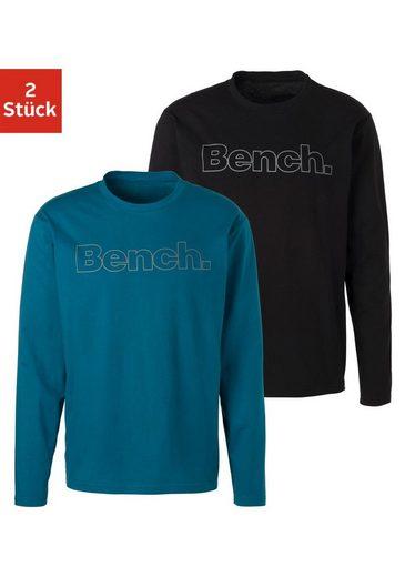 Bench. Langarmshirt (Packung, 2er-Pack) mit Bench. Print vorn