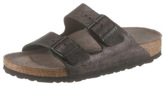 Birkenstock »ARIZONA WASHED METALLIC« Pantolette im Metallic-Look und schmaler Schuhweite