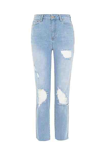 OXXO High-waist-Jeans mit Used Details