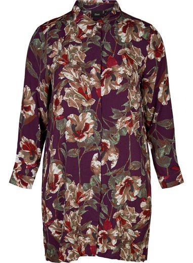 Zizzi Shirtkleid Damen Große Größen Blusenkleid Kragen Langarm Blumenmuster Kleid