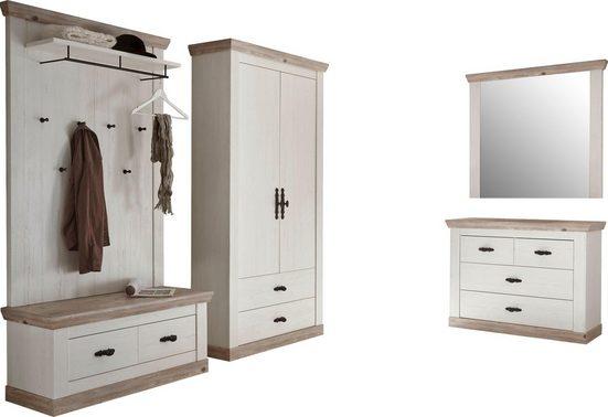 Home affaire Garderoben-Set »Florenz«, (4-St), bestehend aus 1 Bank, 1 Paneel, 1 Kommode, 1 Spiegel und 1 Stauraumschrank
