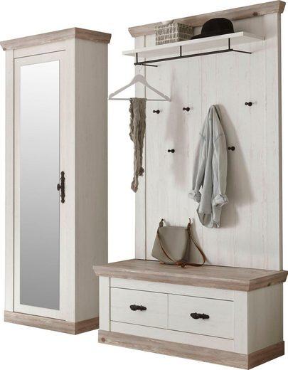 Home affaire Garderoben-Set »Florenz«, (3-St), bestehend aus 1 Bank plus Sitzkissen, 1 Paneel und 1 Stauraumschrank mit Spiegel