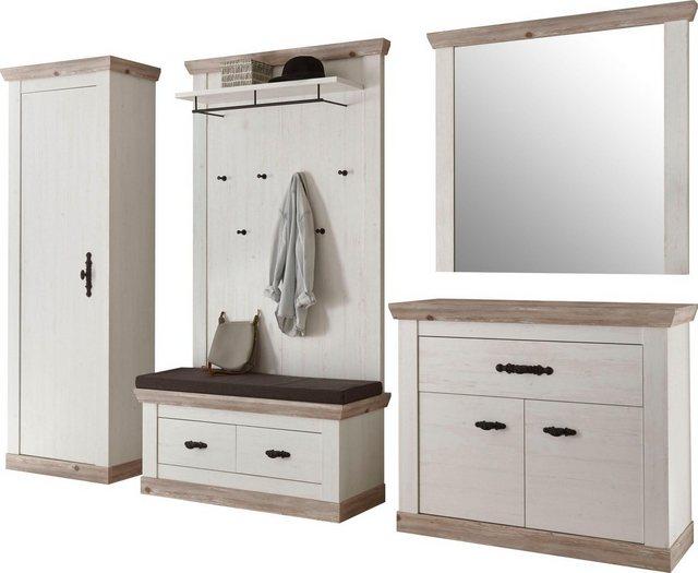 Garderoben Sets - Home affaire Garderoben Set »Florenz«, (5 St., 6 tlg. mit Kissen), bestehend aus 1 Bank, 1 Paneel, 1 Spiegel und 1 Kommode und Garderobenschrank  - Onlineshop OTTO