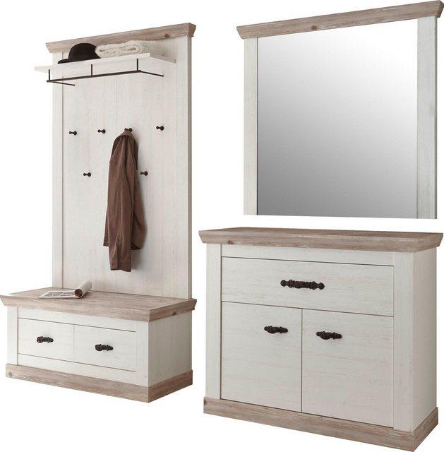 Garderoben Sets - Home affaire Garderoben Set »Florenz«, (4 tlg), bestehend aus 1 Bank, 1 Paneel, 1 Spiegel und 1 Kommode  - Onlineshop OTTO