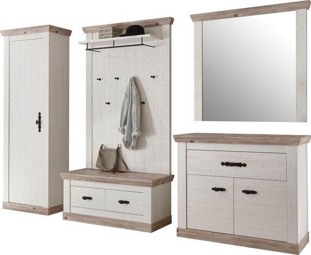 Garderoben Sets - Home affaire Garderoben Set »Florenz«, (5 tlg), bestehend aus 1 Bank, 1 Paneel, 1 Spiegel und 1 Kommode  - Onlineshop OTTO