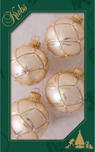 Krebs Glas Lauscha Weihnachtsbaumkugel »Oyster Velvet« (4 Stück), handdekoriert