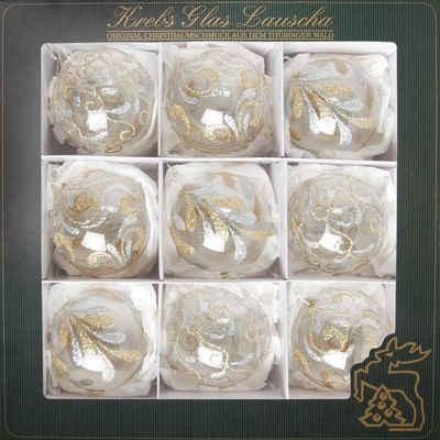 Krebs Glas Lauscha Weihnachtsbaumkugel »Glitterdekor« (9 Stück), mundgeblasen