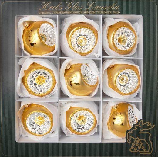 Krebs Glas Lauscha Weihnachtsbaumkugel »Reflexstyle« (9 Stück), mundgeblasen, goldfarben