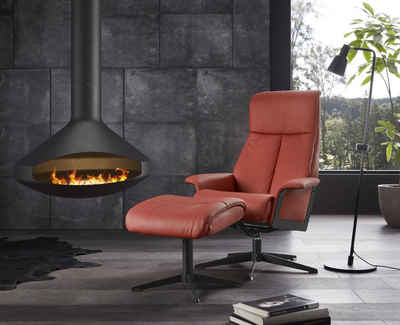 Places of Style Relaxsessel »Westby« (Set, 2-St), von IMG, incl. Hocker, in NaturLEDER und Luxus-Microfaser