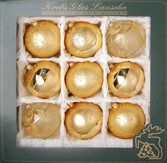Krebs Glas Lauscha Weihnachtsbaumkugel (9 Stück), mundgeblasen