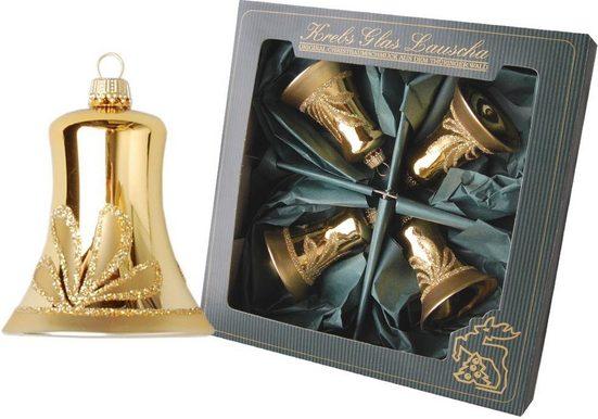 Krebs Glas Lauscha Christbaumschmuck »Glocken« (4-tlg), mundgeblasen, goldfarben
