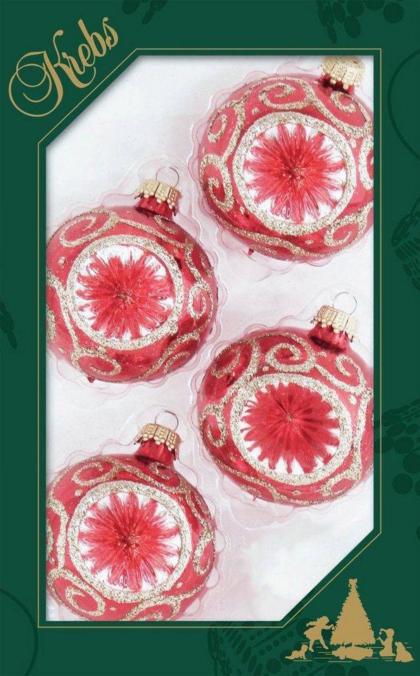 Otto Christbaumkugeln.Krebs Glas Lauscha Weihnachtsbaumkugel Reflexstyle Mit Glitter 4 Stück Handdekoriert Online Kaufen Otto