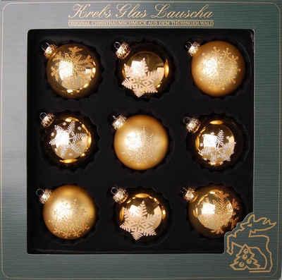 Krebs Glas Lauscha Weihnachtsbaumkugel (9 Stück), mundgeblasen, mit Dekor