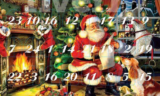 Krebs Glas Lauscha Adventskalender »Santa im Haus« (Set, 24-tlg), mit Weihnachtsbaumschmuck