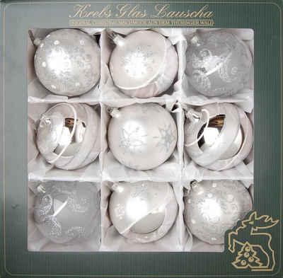 Krebs Glas Lauscha Weihnachtsbaumkugel (9 Stück), mundgeblasen, silberfarben, Ø ca. 10 cm
