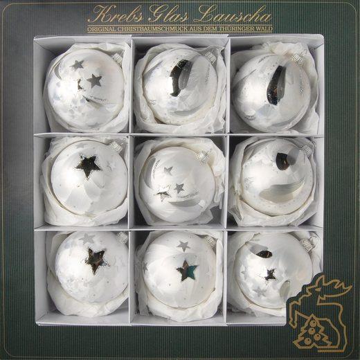 Krebs Glas Lauscha Weihnachtsbaumkugel »Eislack« (9 Stück), mundgeblasen