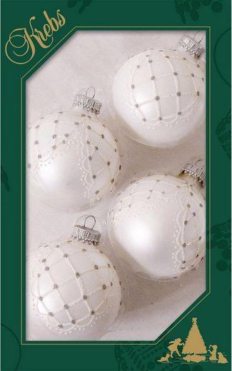Krebs Glas Lauscha Weihnachtsbaumkugel »Netzvorhang« (4 Stück), handdekoriert