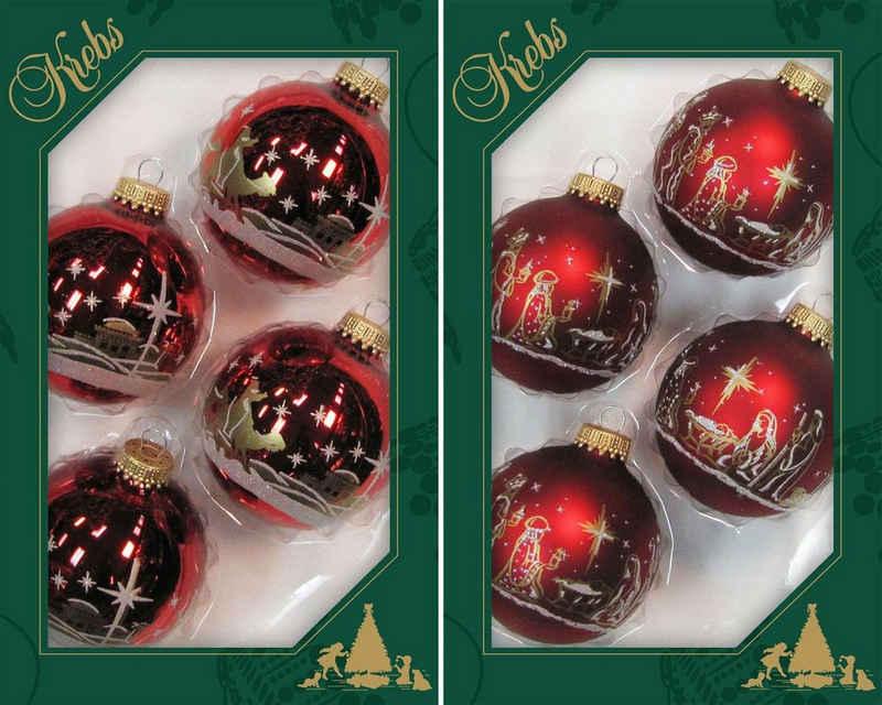 Krebs Glas Lauscha Weihnachtsbaumkugel »Heilige Nacht« (8 Stück), mundgeblasen
