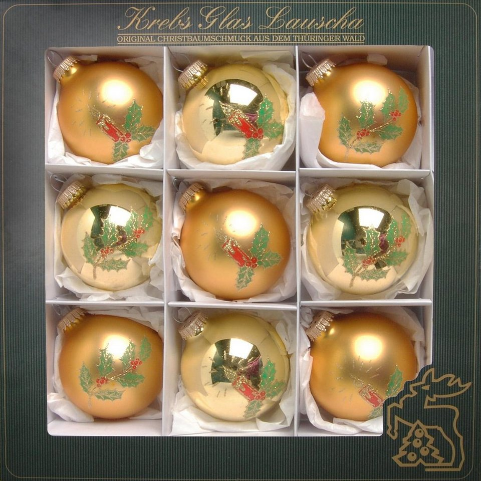 Otto Christbaumkugeln.Krebs Glas Lauscha Weihnachtsbaumkugel Kerzen 9 Stück Handdekoriert Online Kaufen Otto