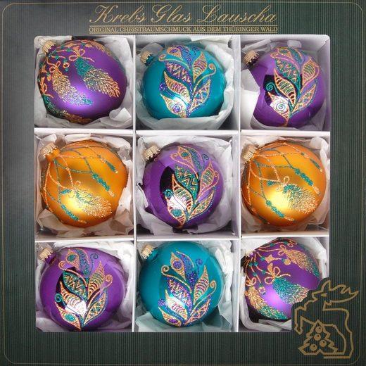 Krebs Glas Lauscha Weihnachtsbaumkugel »Spirit of Xmas« (9 Stück), mundgeblasen