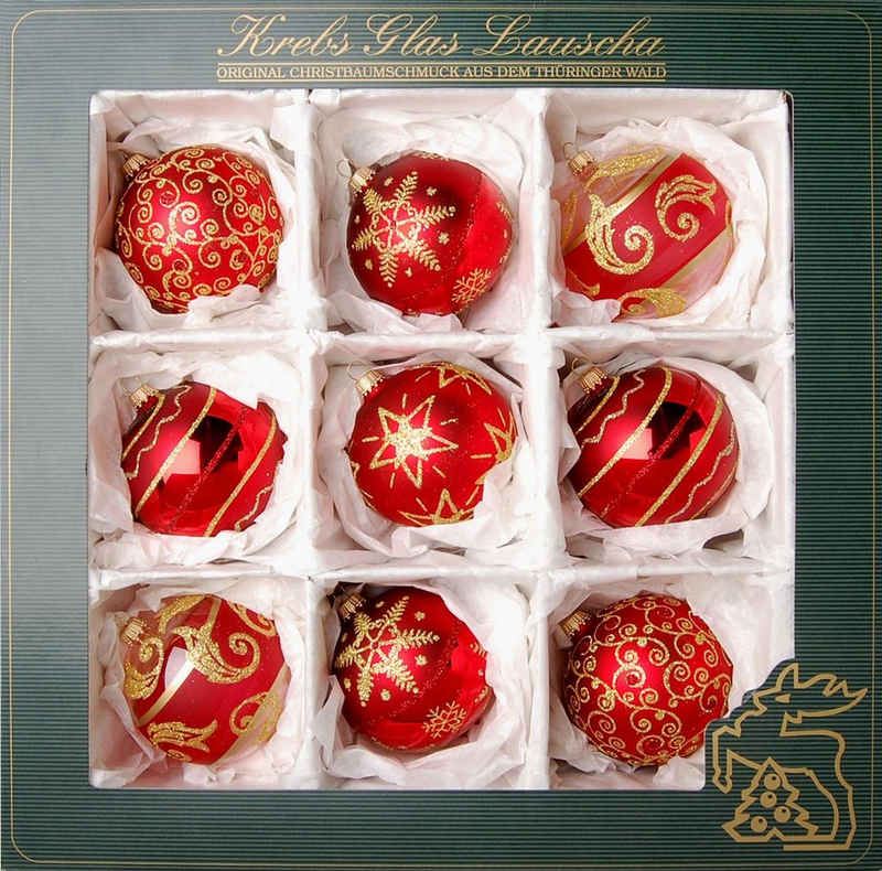 Krebs Glas Lauscha Weihnachtsbaumkugel (9 Stück), mundgeblasen, Ø 8 cm, rot